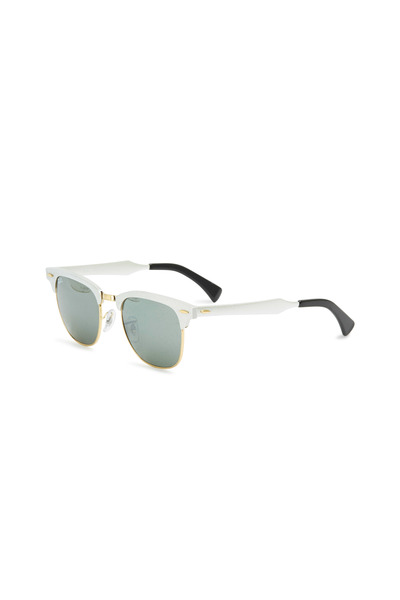 Ray Ban - Clubmaster Brushed Silver Square Sunglasses