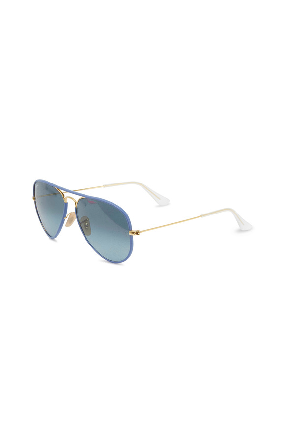 Ray Ban Aviator Full Color Blue Sunglasses