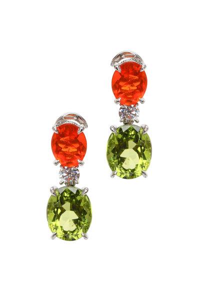 Oscar Heyman - Platinum Peridot & Fire Opal Diamond Drop Earrings