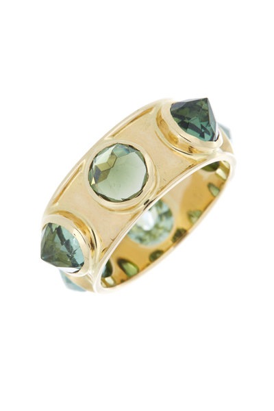 Emily & Ashley - Yellow Gold Inverted Green Tourmaline Ring