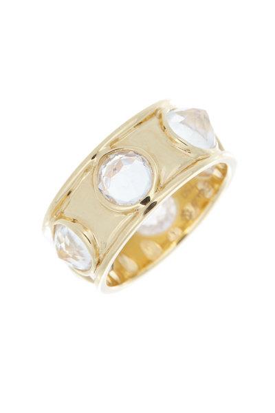 Emily & Ashley - Yellow Gold Inverted Rainbow Moonstone Ring