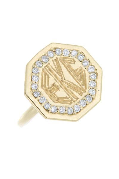 Emily & Ashley - Yellow Gold Diamond Monogram Ring