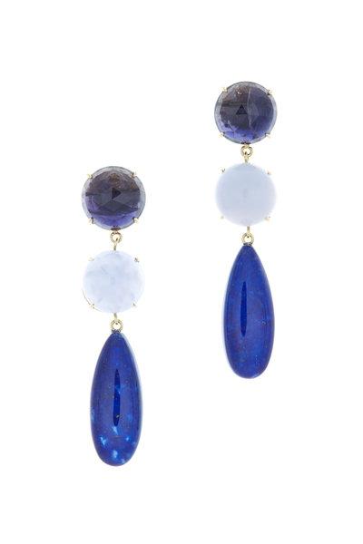 Emily & Ashley - Gold Iolite Chalcedony Lapis Dangle Earrings