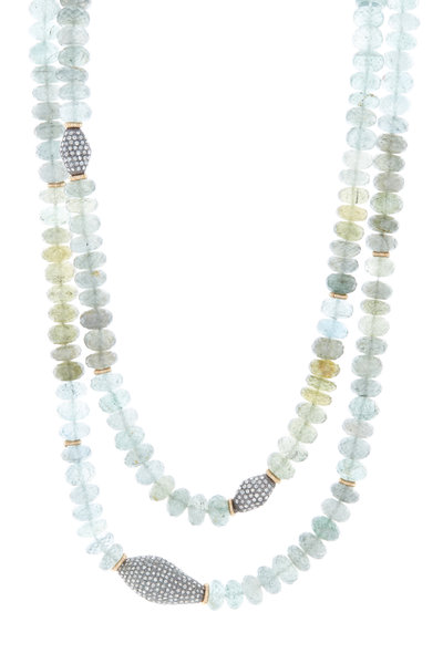 Dana Kellin - Diamond & Moss Aqua Bead Necklace