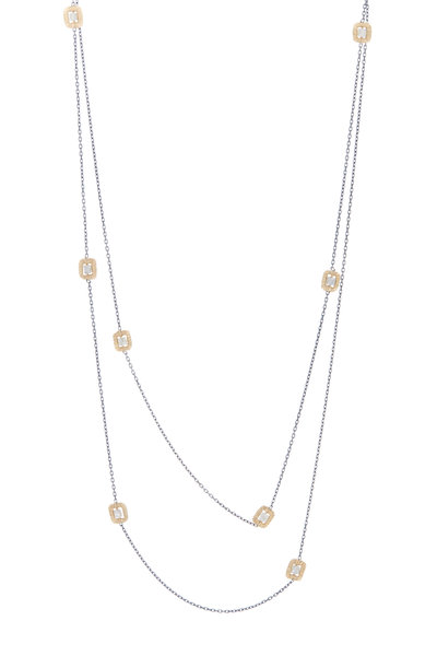 Dana Kellin - Gold & Silver Long Diamond Station Chain Necklace