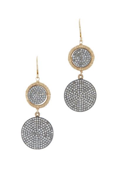 Dana Kellin - Yellow Gold Pavé Diamond Double Drop Earrings