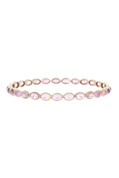 Emily & Ashley - Yellow Gold Pink Tourmaline Bangle Bracelet