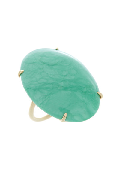 Emily & Ashley - Yellow Gold Chrysoprase Cocktail Ring