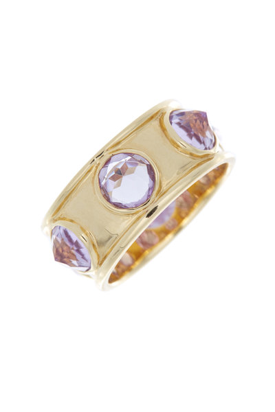 Emily & Ashley - Yellow Gold Inverted Pink Amethyst Cocktail Ring
