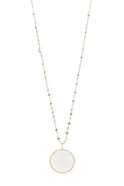 Emily & Ashley - Yellow Gold Moonstone Garnet Necklace