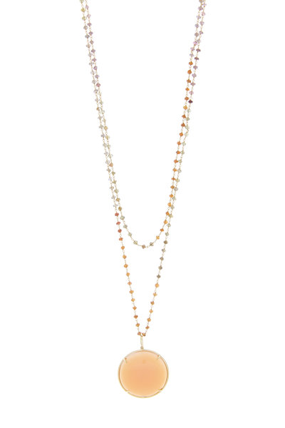 Emily & Ashley - Yellow Gold Peach Moonstone Multi Spinal Necklace