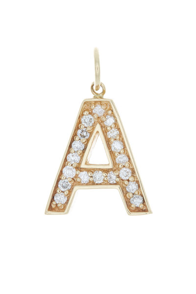 Emily & Ashley - Yellow Gold Initial Charm Diamond Pendant