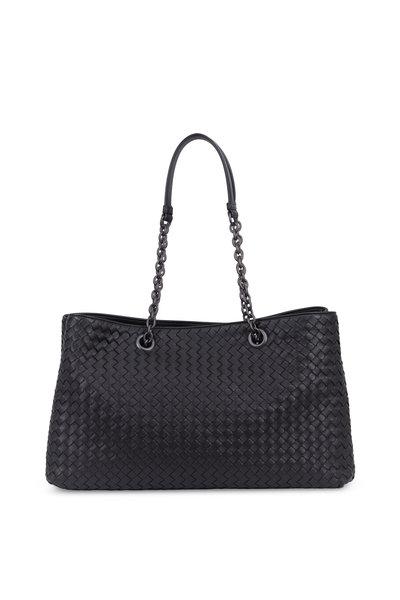 Bottega Veneta - Black Intrecciato Leather Chain Strap Large Tote