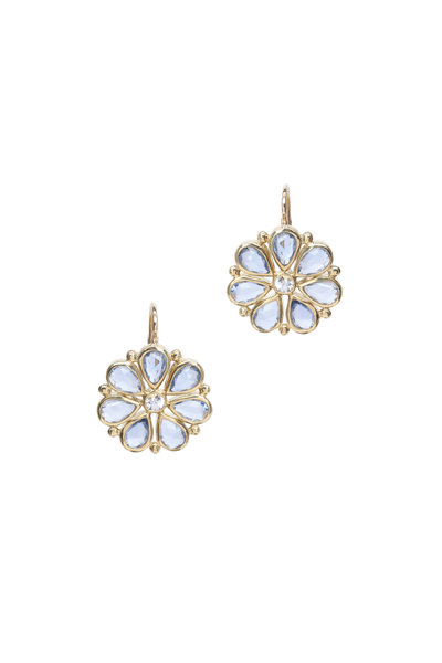 Temple St. Clair - 18K Yellow Gold Sapphire Flower Earrings