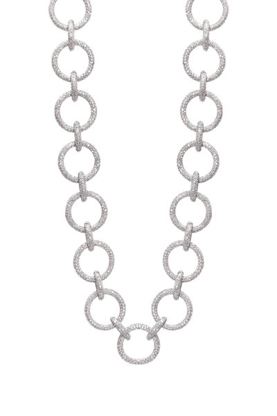 Loren Jewels - Sterling Silver Pavé-Set Diamond Link Necklace