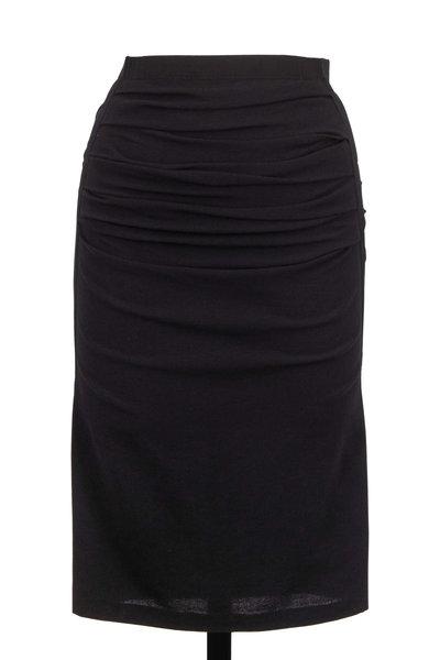 Donna Karan - Crushed Black Crêpe & Grosgrain Trim Pencil Skirt