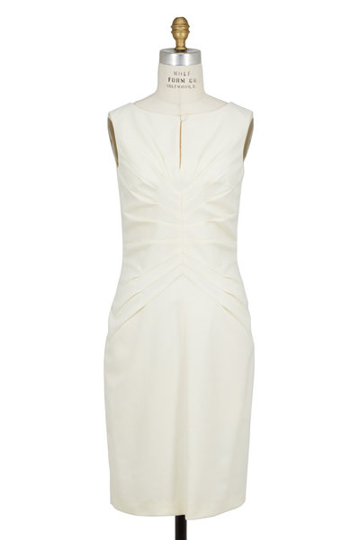 Kiton - Ivory Wool & Cashmere Pleated Front Dress