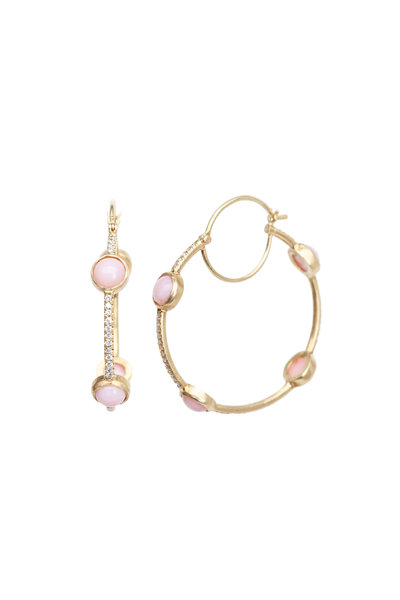 Irene Neuwirth - Yellow Gold Pink Opal Diamond Hoop Earrings
