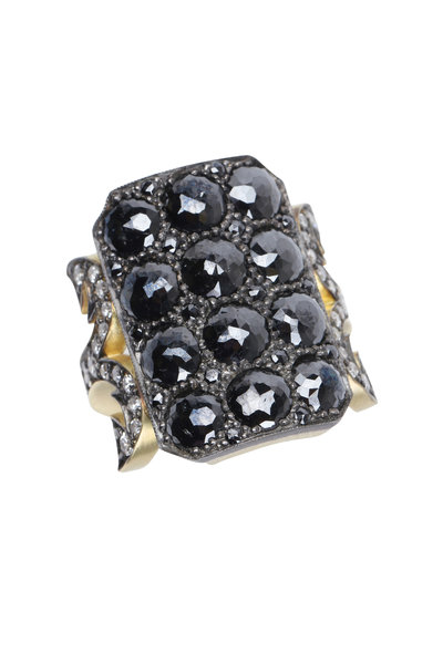 Sylva & Cie - Gold Black & White Diamonds Ring