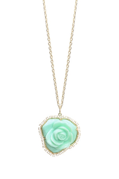 Irene Neuwirth - Gold Carved Green Opal Flower Diamond Pendant