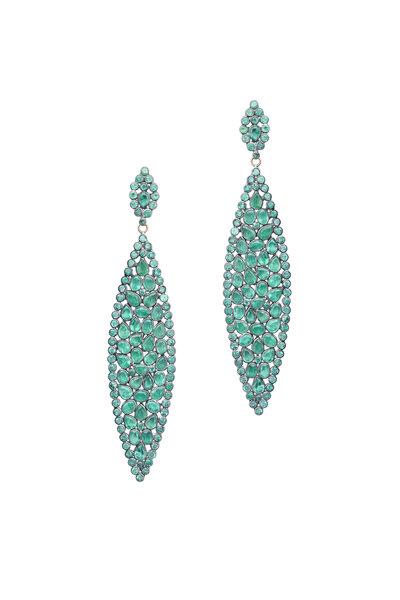 Loren Jewels - Gold & Silver Emerald Dangle Earrings