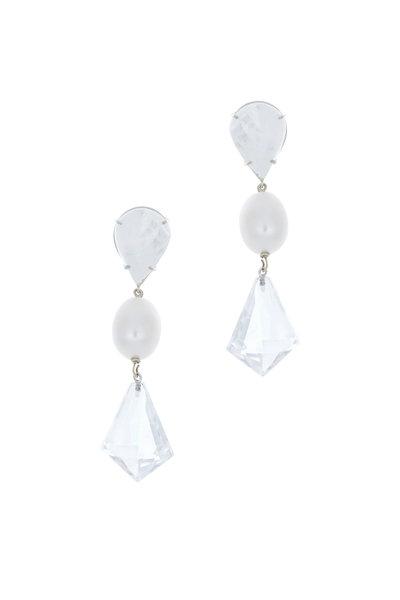 Emily & Ashley - 18K White Gold Quartz & Pearl Drop Earrings