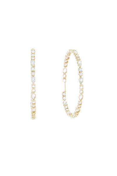 Emily & Ashley - Yellow Gold White Sapphire Ruffle Hoop Earrings