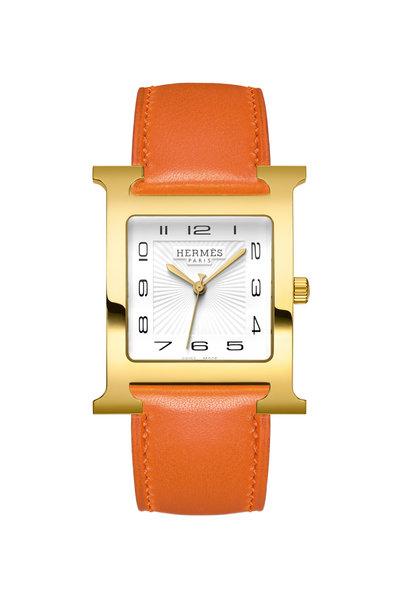 Hermès - Orange Strap Gold H Watch