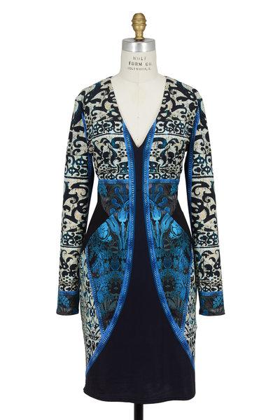 Roberto Cavalli - Blue Jersey Print Long Sleeve V-Neck Dress