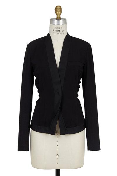 Donna Karan - Black Crêpe Ruched Tuxedo Jacket