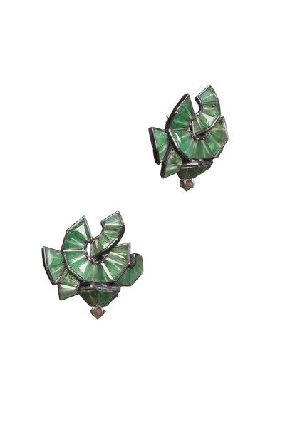 Nak Armstrong - Gold & Silver Emerald Button Earrings