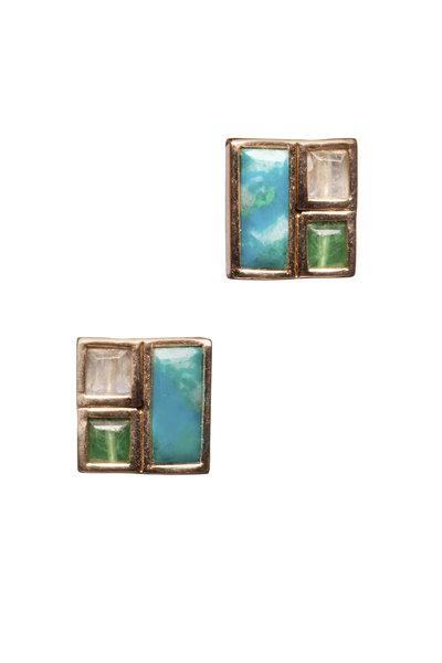 Nak Armstrong - 18K Gold Chrysocolla, Emerald & Moonstone Earrings