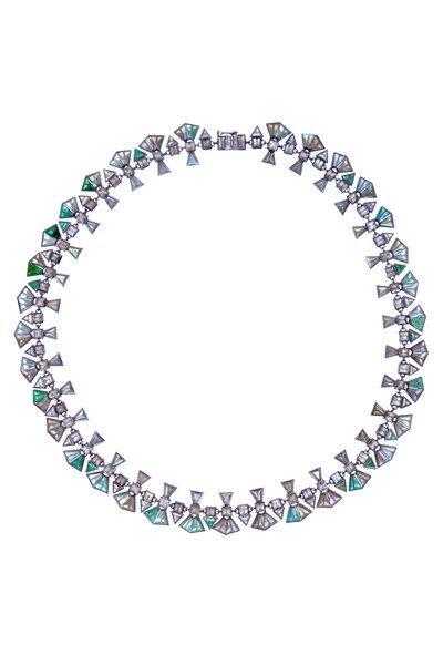 Nak Armstrong - Silver Labradorite Emerald Sapphire Necklace