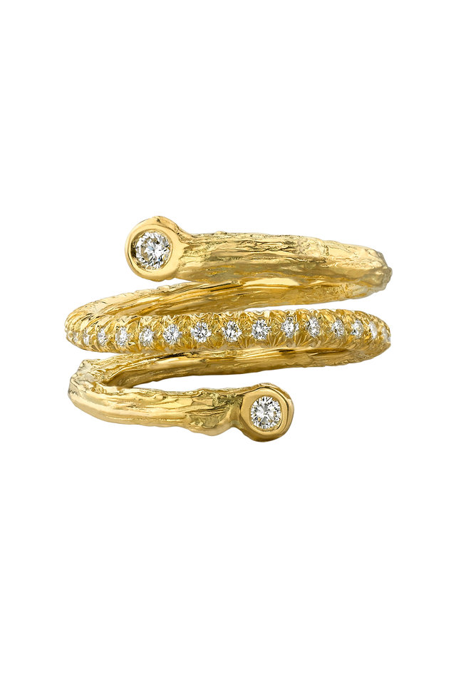 Gold Olive Branch Coil Diamond Ring