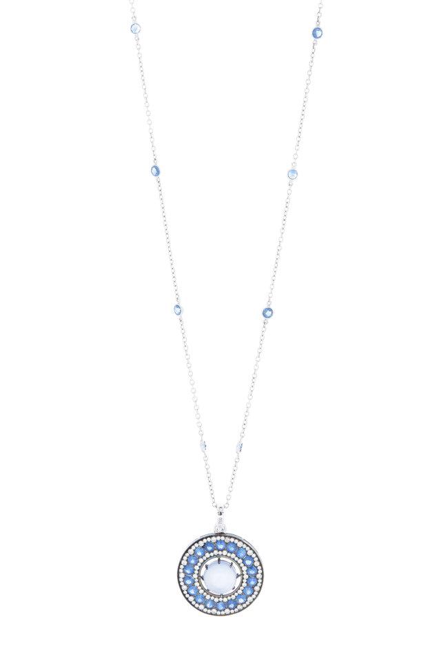 Gold Blue Sapphire Diamond Disc Pendant Necklace