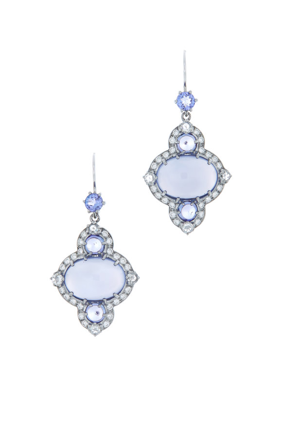 Nam Cho White Gold Chalcedony Tanzanite Diamond Earrings