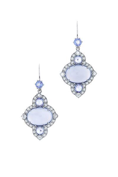 Nam Cho - White Gold Chalcedony Tanzanite Diamond Earrings