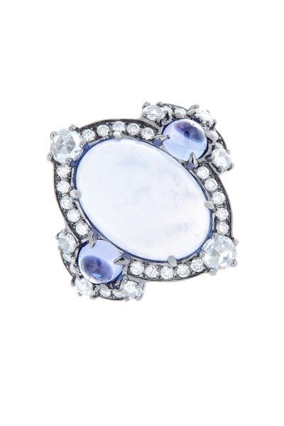 Nam Cho - Gold Chalcedony Tanzanite Diamond Cocktail Ring