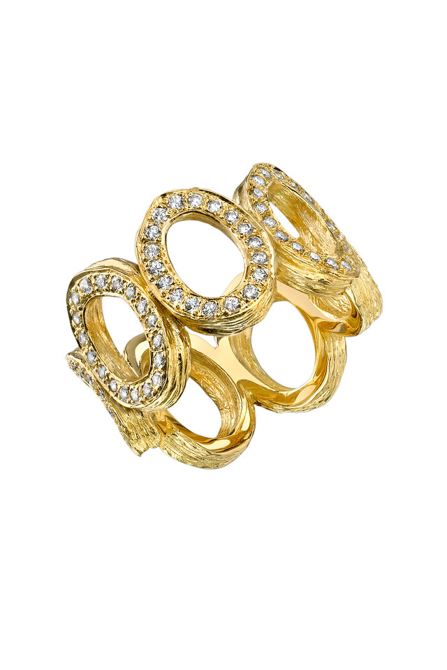 Yellow Gold Wide Open Link Diamond Arbor Band