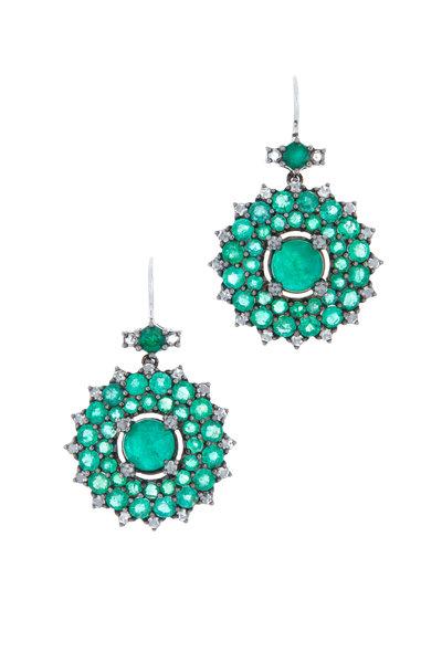 Nam Cho - 18K White Gold Emerald Diamond Dangle Earrings