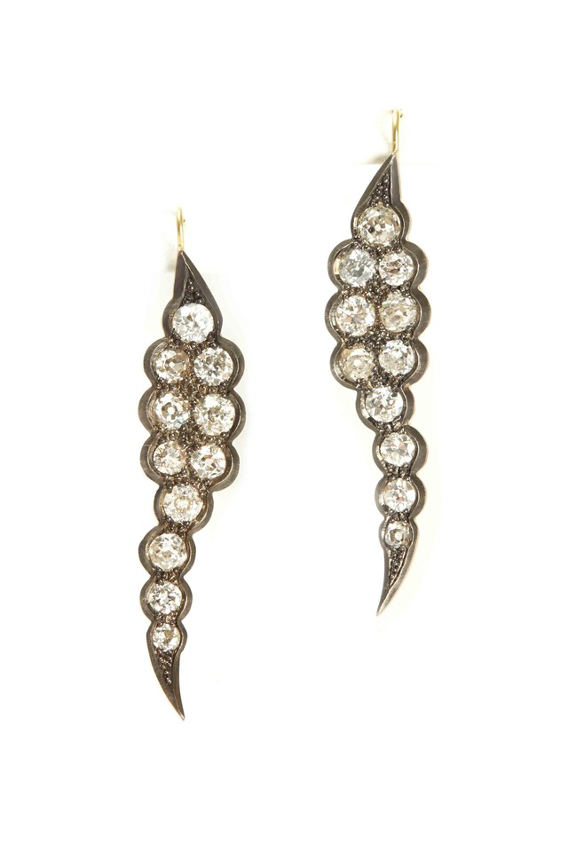 Gold Old European Georgian Diamond Leaf Earrings