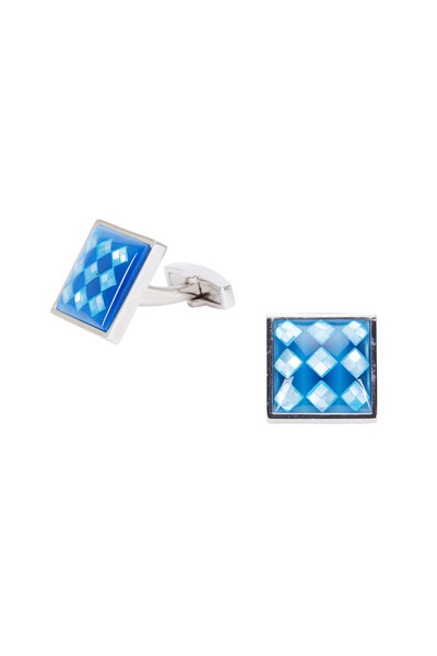 Bel Vetro - Blue Checker Board Cuff Links