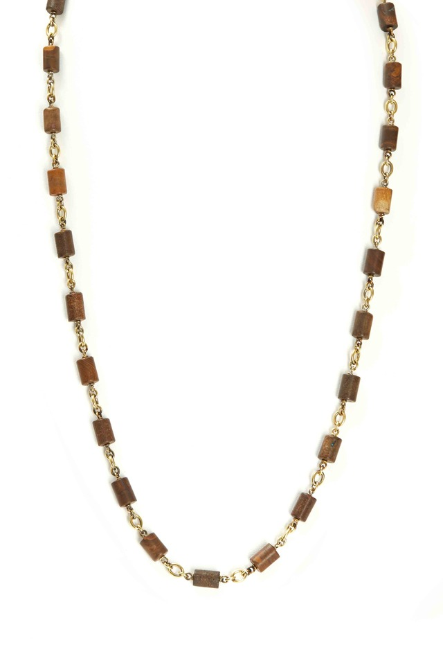 Gold Boulder Opal Tube Bead Necklace