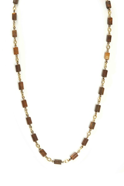 Sylva & Cie - Gold Boulder Opal Tube Bead Necklace