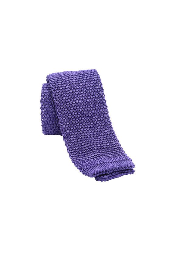 Charvet Purple Silk Knit Necktie