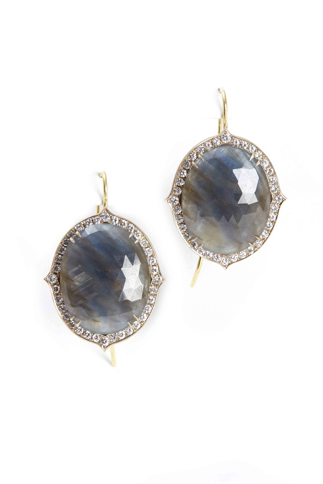 Yellow Gold Oval Sapphire Earrings
