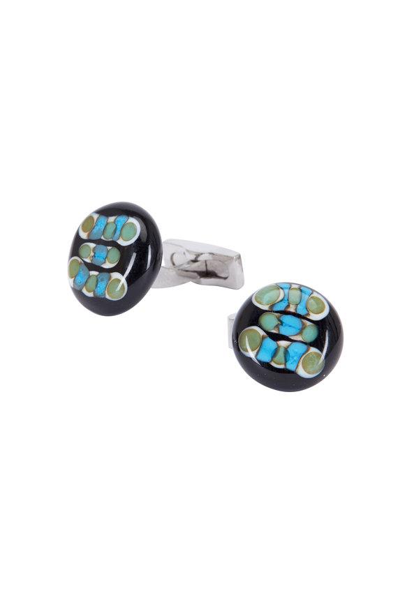 Bel Vetro Sterling Silver Black & Green Bulb Cuff Links