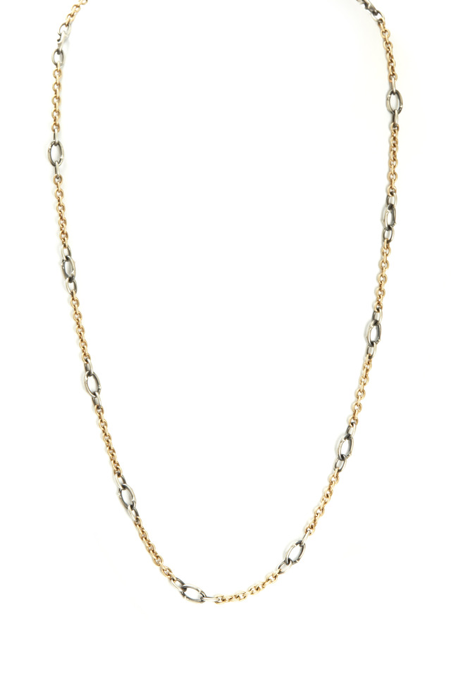 Yellow Gold & Silver Graduated Link Chain Necklace
