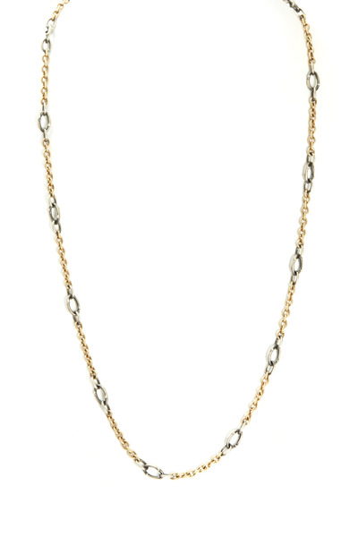 Sylva & Cie - Yellow Gold & Silver Graduated Link Chain Necklace