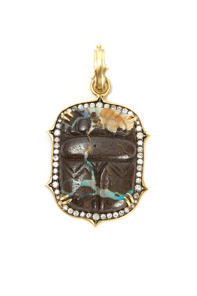 Sylva & Cie - Gold Carved Opal Scarab Diamond Pendant